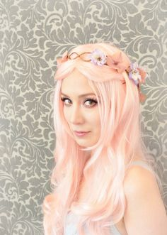 Rapunzel: Flower crown, pink and lavender hair wreath, floral cascade crown, wedding accessory
