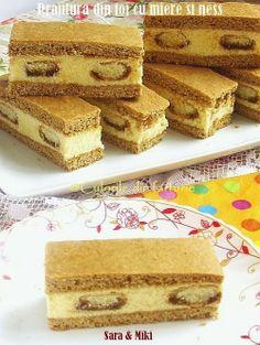 Cake with honey and coffee ~ Culorile din farfurie Romania Food, Cake Recipes, Dessert Recipes, Dessert Ideas, Romanian Desserts, Good Food, Yummy Food, Food Cakes, Banana Bread