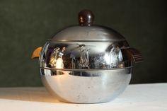 Vintage PENGUIN West Bend HOT COLD Food Server Chrome Kitchenware Ice Bucket