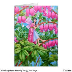 Shop Bleeding Heart Fairy created by Fairy_Paintings. Fairy Paintings, Pink Gowns, Fairies, Climbing, Personalized Gifts, Folk, Greeting Cards, Tapestry, Magic