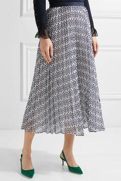 Oscar de la Renta - Pleated Broderie Anglaise Cotton-blend Skirt - Navy - US