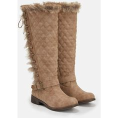 Justfab Flat Boots Delphine (5460 RSD) ❤ liked on Polyvore featuring shoes, brown, platform lace up shoes, flat shoes, flat winter boots, low heel shoes and brown flat shoes