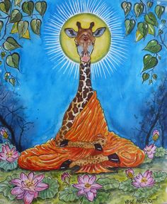 Watercolor and Ink Painting Art Original One-of-a-kind signed Giraffe Buddha  #Realism