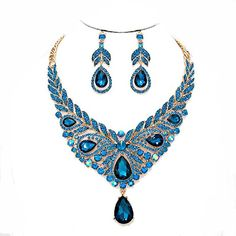 Affordable Jewelry Teal Aqua Blue Ab Austrian Crystal Gold Chain Necklace Jewelry Earrings Set