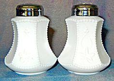 Maple leaf milkglass salt and pepper shakers