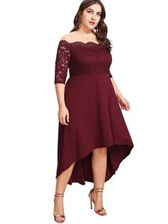 Shop Plus Lace Overlay Dip Hem Bardot Dress online. SHEIN offers Plus Lace Overlay Dip Hem Bardot Dress & more to fit your fashionable needs. Wedding Gown A Line, Maxi Dress Wedding, Red Wedding Dresses, Lace Bridesmaid Dresses, Lace Dresses, Lace Wedding, Vintage Tea Dress, Vintage Midi Dresses, Elegant Dresses