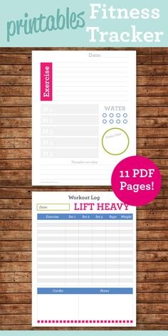 Health and Fitness Planner Printables #fitness #tracker #printable #workout