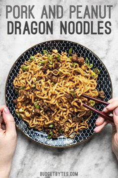 Sweet salty rich and crunchy these Pork and Peanut Dragon Noodles hit all the bases. Its fast easy comfort food for busy nights! Pork Recipes, Asian Recipes, New Recipes, Dinner Recipes, Cooking Recipes, Favorite Recipes, Healthy Recipes, Ethnic Recipes, Vegetarian Cooking