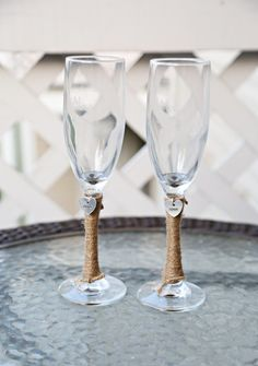 2 Personalized Wedding Glass Flutes & Charm Custom Shabby Chic Rustic Country Reception Set Bride, Groom, Bridal Party Mr Mrs His Hers