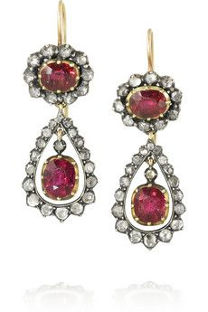 Olivia Collings 1840s 18-karat gold, ruby and diamond earrings | NET-A-PORTER--WOW!  These are gorgeous!