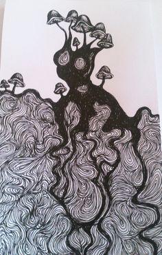 surreal mushroom illustration by lena öberg