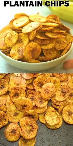 Plantain chips are my new obsession. Tasty easy to make and healthy these chips make a perfect snack for grown-ups and kids. Ill teach you how to make them and I am sure you are going to fall in love with plantain chips too! Indian Food Recipes, Vegetarian Recipes, Snack Recipes, Cooking Recipes, Healthy Recipes, Yummy Recipes, Cooking Pasta, Drink Recipes, Baked Plantain Chips