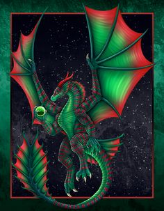 Christmas Dragon 2016 by DragonosX on DeviantArt Dragon Images, Dragon Pictures, Christmas Dragon, Christmas Art, Xmas, Celtic Dragon, Celtic Art, Fantasy Paintings, Fantasy Art
