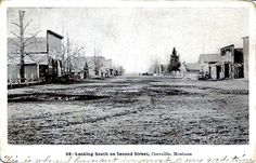 Main Street Corvallis, MT about 1909.  Went to Junior High and High School here and main street, except for being paved didn't look too much different than this.  Love the old town and the people.