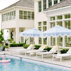 Beautiful Beach Houses, Blue Patio, Pool Landscape Design, Hill Interiors, Building A Pool, Modern Patio, Patio Umbrellas, Exterior Design, Backyard