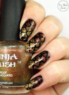 Glitter gradient Fish Scale manicure #nailart #ninjapolish