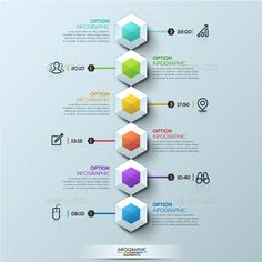 Six Multicolored Hexagons Timeline - Infographic Template PSD, Vector EPS, AI Illustrator
