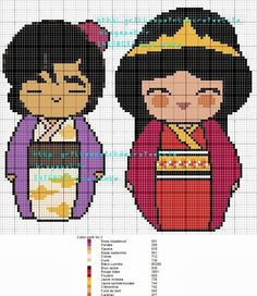Aladdin and Jasmine Kokeshi patterns by grilles point de croix et cie