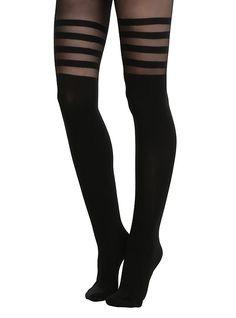 Black Stripes Faux Thigh High Tights, BLACK