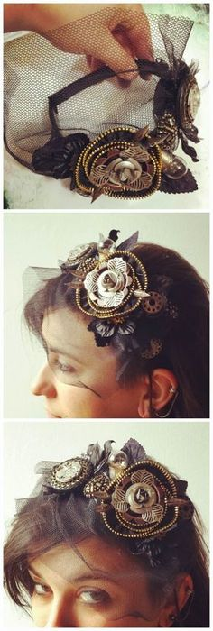 Love the use of zipper and pen nibs to make a unique flower and the tule veil on this headband. Tutorial