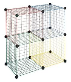 Whitmor Colorful Durable Wire Storage Cubes Shelving Unit Home Garage Organizer