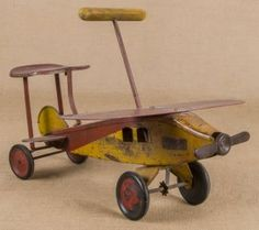 Keystone Pressed Steel Ride-on Airplane, 25'' L.