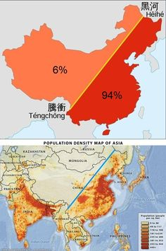 This map here shows the density of population in Asian, focus more on China. The line going through the country is the Heihe-Tengchong line, showing that of the Chinese population lives east of this line. Human Geography, Geography Of China, Geography Map, Geography Lessons, China Map, Pr China, Old Maps, City Maps, Historical Maps