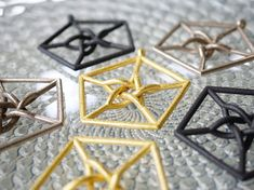 Our Petersen Graph Pendant is showcased here in Gold Steel, Black Steel, and Bronze-Silver Steel.  Available here: http://shpws.me/OKPI  #graphtheory #connectthedots #graph #math #mathrules #wovenmetal #star #starpendant #pentagon #pentagonpendant #vertex #edge #steeljewelry #goldsteel #blacksteel #blackpendant  #jewelryjune #nyclife #nyc #nycfashion #queensny #hanusadesign #mathjewelry #mathart #geekchic #geekfashion #geekpendant #sciencenerd #mathclass