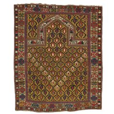 Gold Ground Antique Marasali Shirvan Prayer Rug | See more antique and modern Russian and Scandinavian Rugs at https://www.1stdibs.com/furniture/rugs-carpets/russian-scandinavian-rugs