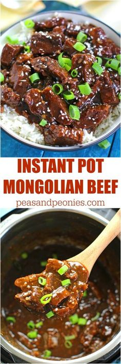 Note: Use 1 pounds of beef vs 1 pound Instant Pot Mongolian Beef is a very easy and delicious meal you can make in just 30 minutes. Sweet, juicy and with tons of garlic and fresh ginger! Made healthier with less sugar and not deep fried! Instant Pot Pressure Cooker, Pressure Cooker Recipes, Pressure Cooking, Asian Recipes, Crockpot Recipes, Cooking Recipes, Pork Recipes, Easy Recipes, Cooking 101