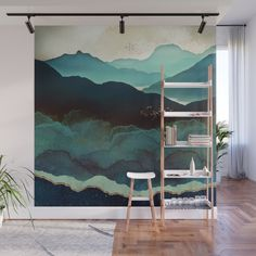 Indigo Mountains Wall Mural Wallpaper by Spacefrogdesigns - X Mural Art, Mural Painting, Paintings, Wall Art, Mountain Mural, Removable Wall Murals, Room Decor, Wall Decor, Diy Wall