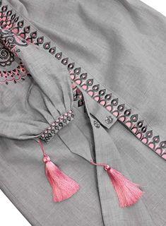 Gray Embroidered Folk Dress Vyshyvanka, Folk Ethnic Linen Gypsy Style, Bohemian Style Ukrainian Dress Abaya Kaftan, Hippie dress, Mexican - Her Crochet Neck Designs For Suits, Sleeves Designs For Dresses, Dress Neck Designs, Blouse Designs, Embroidery Suits Punjabi, Kurti Embroidery Design, Embroidery Dress, Kurti Sleeves Design, Kurta Neck Design