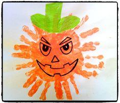 halloween, citrouille, empreinte de mains, bricolage enfant