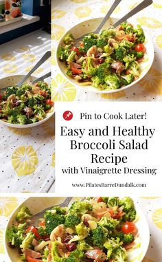 Easy Healthy Broccoli Salad Recipe with Vinaigrette Dressing Lunch Recipes, Whole Food Recipes, Salad Recipes, Vegetarian Recipes, Healthy Recipes, Healthy Broccoli Salad, Fresh Broccoli, Vinaigrette Dressing, Barbecues