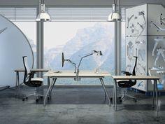 Double workstation with return table and top finish Beech  //  ---  //  Postazione doppia con scrivanie e dattilo finitura Faggio