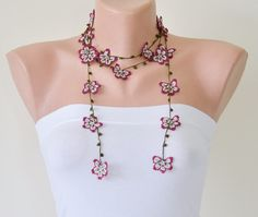 Crochet Flower Necklace Burgundy Oya Vintage Crochet by ReddApple
