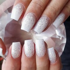white nails with designs . white nails with glitter . white nails with rhinestones . White Sparkle Nails, White And Silver Nails, White Acrylic Nails With Glitter, Glitter Ombre Nails, Sparkly Nails, White Gold, Summer Acrylic Nails, Best Acrylic Nails, Spring Nails