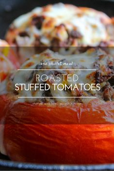 Roasted Stuffed Tomatoes are easy to make, lightened up with veggies on the inside, and you only use one pan!  via @Buy This Cook That
