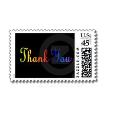 """Elegant """"Thank You"""" postage stamp in rainbow text (c) Celeste Sheffey...$21.05 for sheet of stamps."""
