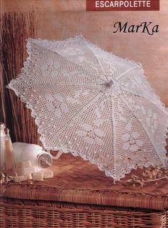 Croche e trico da Fri, Fri´s crochet and tricot: Acessorios Filet Crochet, Thread Crochet, Crochet Doilies, Crochet Stitches, Knit Crochet, Crochet Patterns, Crochet World, Lace Umbrella, Lace Parasol