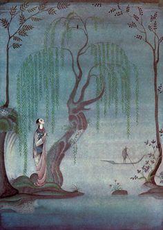 Kay Nielsen illustration - lovely muted hues, fantastical nature setting