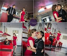 50s inspired engagement session in a diner. This would be so cute at the soda fountain