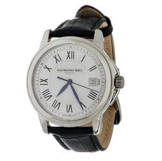 Raymond Weil Unisex 5678-STC-00300 Tradition Stainless Steel Case Black Leather Strap with Crocodile Pattern Watch $485.00