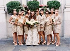 Chic gold bridesmaids dresses | photography by http://tecpetajaphoto.com/