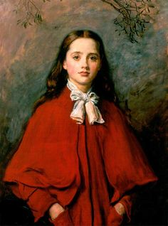 Bright Eyes / John Everett Millais / 1877 / oil on canvas / love the red fabric in this...