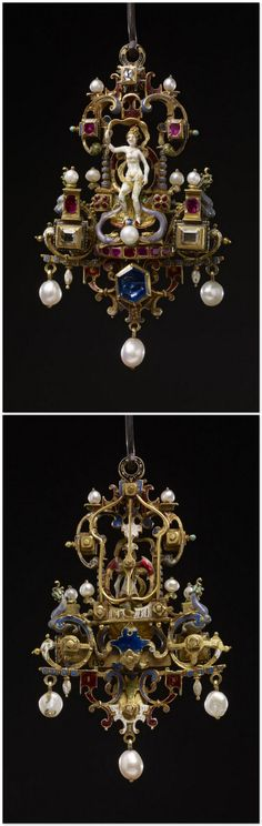 Pendant jewel; gold; set with sapphire; centre: Venus standing on shell between two dolphins; on each side is short square column set with diamond and ruby and surmounted by a pearl; above and below delicate open-work scrolls with diamonds, rubies and three pendant pearls; back entirely of openwork scrolls, enamelled blue and ruby, in the style of Daniel Mignot or Le Blon. Germany 16thC(late) (?) / 19thC (?).