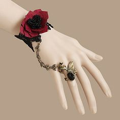 Toxic Heart Red Flower Black Lace Gothic Lolita Ring Bracelet