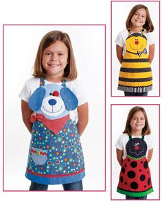 Sewing Patterns Diy Cute Friends Aprons (children's) apron sewing pattern from Cotton Ginnys Child Apron Pattern, Vintage Apron Pattern, Retro Apron, Apron Patterns, Dress Patterns, Pattern Sewing, Applique Patterns, Sewing Patterns For Kids, Sewing For Kids