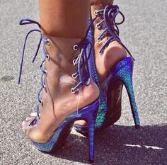 Crazy Alternative Colourful Multicoloured High Heels Snakeskin Blue And Green Bottom Heel With Bright Blue Lace Up Detail And See-Through Clear Shoe