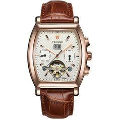 Tevise 8383B Men Auto Mechanical Watch with Genuine Leather Strap-Rose Gold